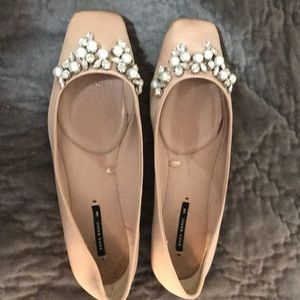 Zara satin rhinestone/pearl flats blush color 8